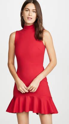 Susana Monaco Mock Neck Curved Ruffle Dress