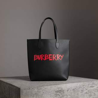 Burberry Graffiti Print Bonded Leather Tote