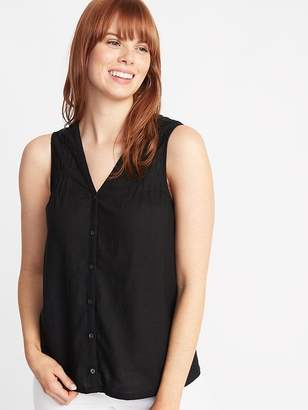 Old Navy Sleeveless Pintucked Linen-Blend Top for Women