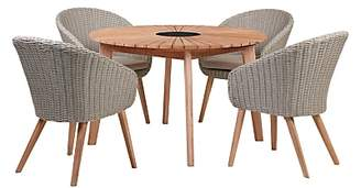 John Lewis & Partners Sol 4 Seater Round Garden Dining Table & Chairs Set, FSC-Certified (Eucalyptus), Natural