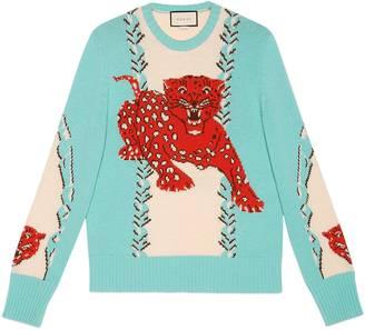 Leopard intarsia wool crewneck sweater $980 thestylecure.com