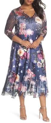 Komarov Koramov Floral Print Lace Inset Dress