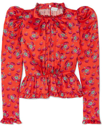 Magda Butrym Normandy Ruffle-trimmed Floral-print Silk-satin Peplum Blouse - Bright orange