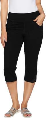 Denim & Co. Knit Denim Pull-On Capri Pants with Crochet Detail