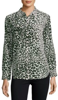 Equipment Leopard Printed Silk Shirt