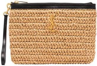 Saint Laurent straw clutch bag