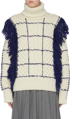 The Keiji Fringe windowpane check cable knit turtleneck sweater