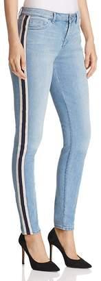 T Tahari Goldie Straight-Leg Track-Stripe Jeans in Light Wash
