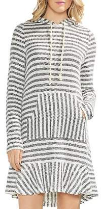 Vince Camuto Striped Piqué Hoodie Dress
