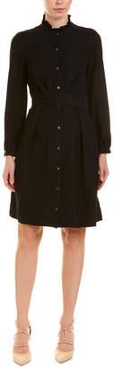Rebecca Taylor Mock Neck Silk Shirtdress