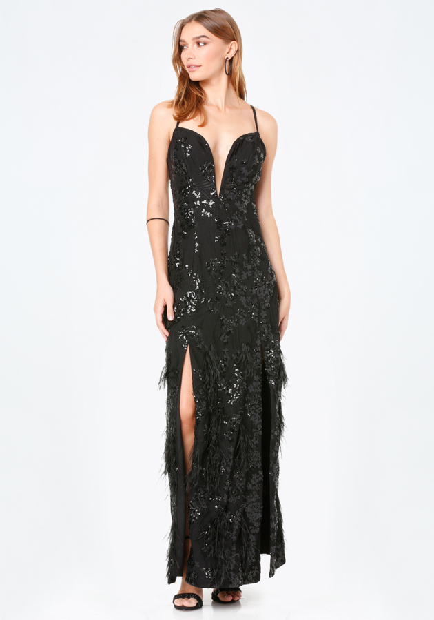 Feather Plunge Gown