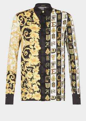 Versace Mixed Print Silk Twill Shirt