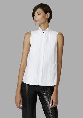 Giorgio Armani Sleeveless Shirt With Wing Collar And Bib-Front Effect Pleating