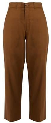 Chloé Linen And Cotton Blend Trousers - Womens - Khaki