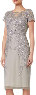 Adrianna Papell Petite Short Sleeve Beaded Cocktail Dress, Platinum