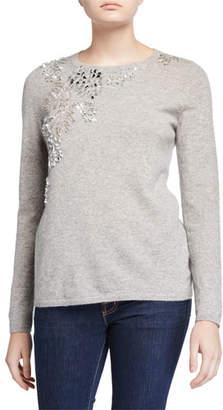 Neiman Marcus Cashmere Embellished Long-Sleeve Crewneck Sweater
