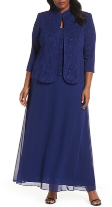 Alex Evenings Lace & Chiffon Gown with Jacket