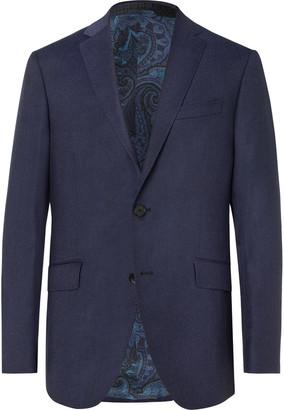 Etro Navy Wool-Hopsack Blazer