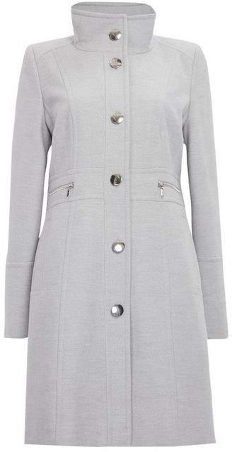Grey Faux Wool Zip Pocket Coat