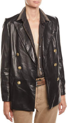 Brunello Cucinelli Double-Breasted Napa Leather Jacket