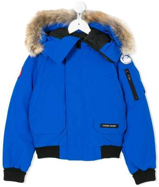Canada Goose Kids coyote fur trim hooded jacket
