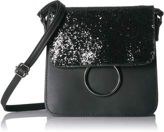 T-Shirt & Jeans Mini Sparkle Flap Cross Body with Ring Cross Body, blk