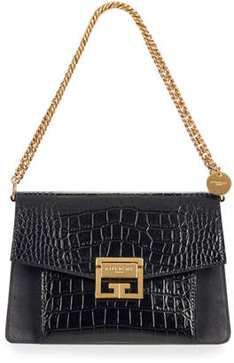Givenchy GV3 Small Croc-Embossed Leather Shoulder Bag