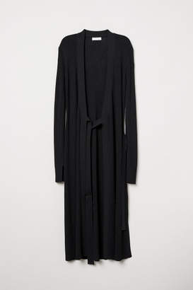 H&M Rib-knit Wrap Dress - Black