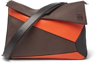 Loewe Puzzle Full-Grain Leather Messenger Bag - Men - Brown