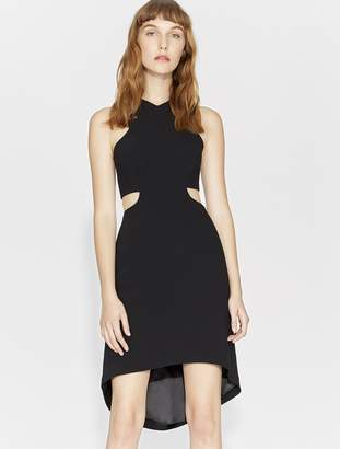 Halston MINIMAL CREPE DRESS WITH CUT OUTS