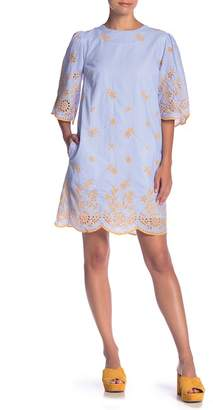 ENGLISH FACTORY Striped Embroidered 3\u002F4 Sleeve Dress