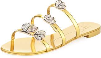 Giuseppe Zanotti Crystal-Embellished Metallic Three-Strap Slide Sandal