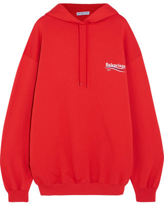 Oversized Printed Cotton-jersey Hooded Top - Red