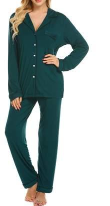 Ekouaer Plus Size Pajama Set Ladies Soft Pajamas 2 Piece Sleepwear Loungewear Set (,XL)