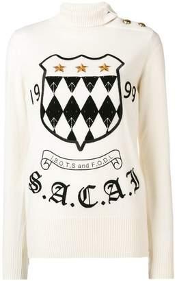 Sacai logo crest turtleneck sweater