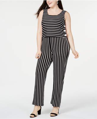NY Collection Plus & Petite Plus Size Striped Side-Lace-Up Jumpsuit