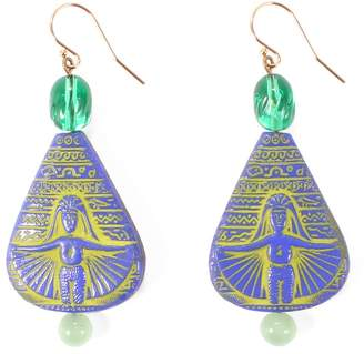 Lulu Frost Vintage Egyptian Revival Glass Jaunt Earring