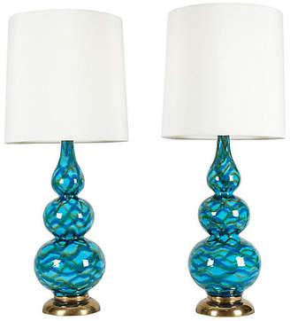 One Kings Lane Vintage Porcelain Table Lamps - Set of 2 - La Maison Supreme