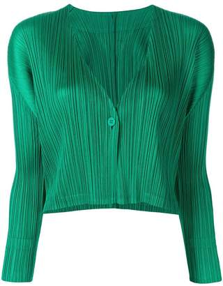 Pleats Please Issey Miyake cropped ribbed jacket