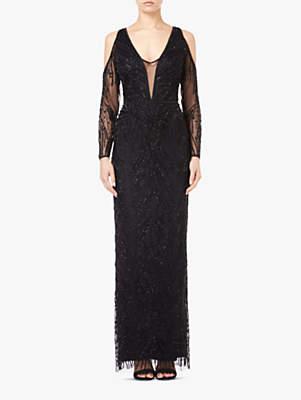 Beaded Cold Shoulder Long Dress, Black