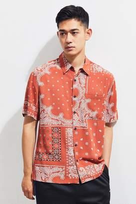 Urban Outfitters Bandana Rayon Short Sleeve Button-Down Shirt