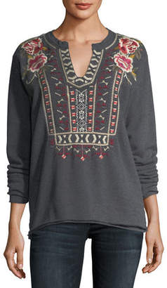 Johnny Was Issoria Embroidered French Terry Sweatshirt, Plus Size
