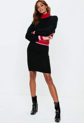 Missguided Black Colourblock Knit Crop Sweater