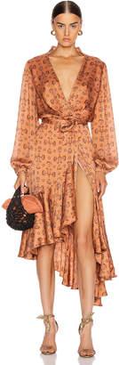 Johanna Ortiz Spiritual Relations Wrap Dress in Anis & Truffle | FWRD