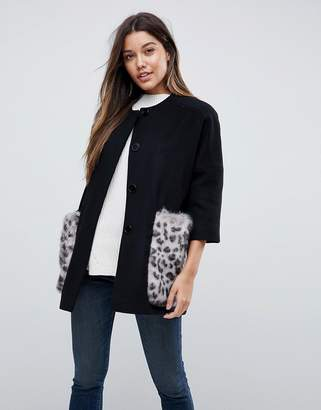 Helene Berman Leopard Kimono Coat With Faux Fur Pockets