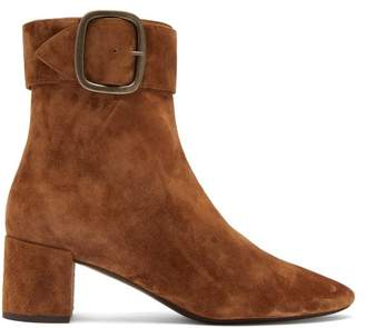 Saint Laurent Joplin Suede Buckle Ankle Boots - Womens - Tan