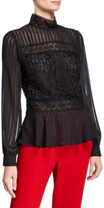 Romeo & Juliet Couture Shadow Stripe and Lace Peplum Blouse