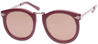 Karen Walker Super Lunar Round Mirrored Sunglasses, Red Pattern