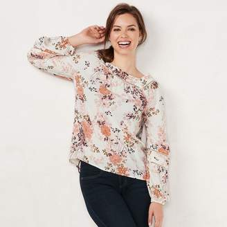 Lauren Conrad Petite Love, Lauren Shirred Peasant Top