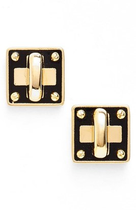 Women's Marc By Marc Jacobs 'Turnlock' Enamel Stud Earrings $48 thestylecure.com